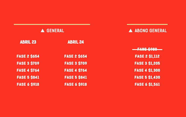 Vive Latino 2016 Cartel fases
